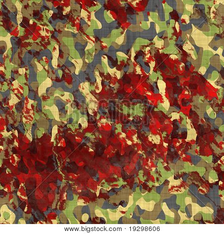 green camouflage material covered in red blood stains