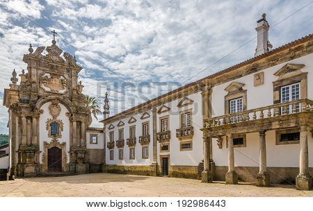 VILA REAL,PORTUGAL - MAY 15,2017 - View at the Chapel of Palace Mateus near Vila Real in Portugal. Vila Rael is located in a promontory formed by the gorges of the Corgo and Cabril rivers.