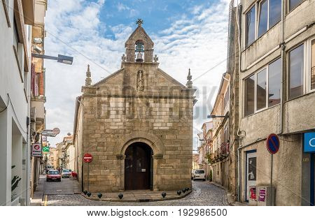 VILA REAL,PORTUGAL - MAY 15,2017 - Church Misericordia in the streets of Vila Real in Portugal. Vila Rael is located in a promontory formed by the gorges of the Corgo and Cabril rivers.