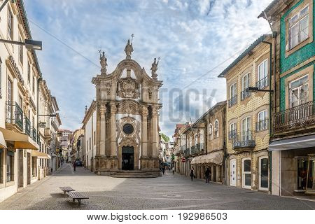 VILA REAL,PORTUGAL - MAY 15,2017 - Church Sao Paulo in the streets of Vila Real in Portugal. Vila Rael is located in a promontory formed by the gorges of the Corgo and Cabril rivers.