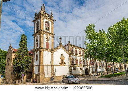 VILA REAL,PORTUGAL - MAY 1,52017 - View at the Bell tower of church Sao Domingos in Vila Real. Vila Rael is located in a promontory formed by the gorges of the Corgo and Cabril rivers.