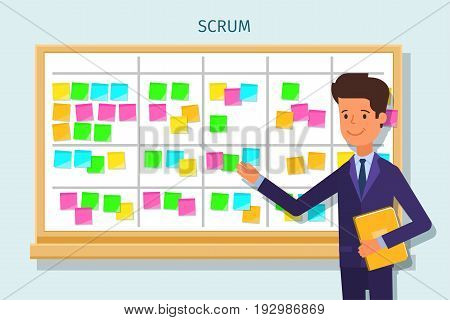 Cartoon scrum master. Business man at the scrum board. Scrum task board with sticky note cards. Flat design, vector illustration.
