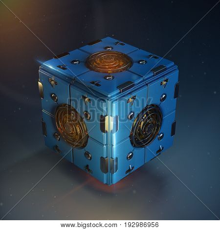 abstract techno cube object. blue metal box with shiny polished detail clockwork in center of each face. dieselpunk 3d render illustration