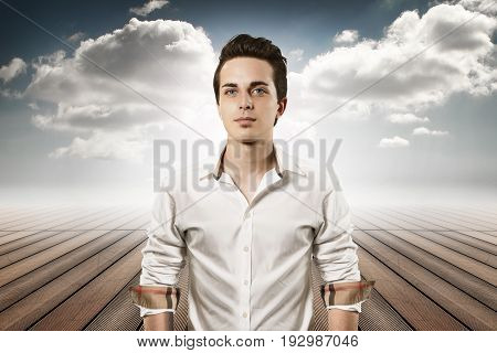 young man portrait in the sky limbo
