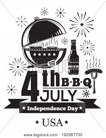 US Independence Day design. Fourth of July. Festive salute and barbecue. 4th Jule B-B-Q. Federal holiday in the United States. Vector illustration