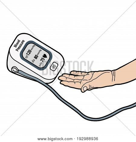 BLOOD PRESSURE, CHECKING BLOOD PRESSURE illustration vector