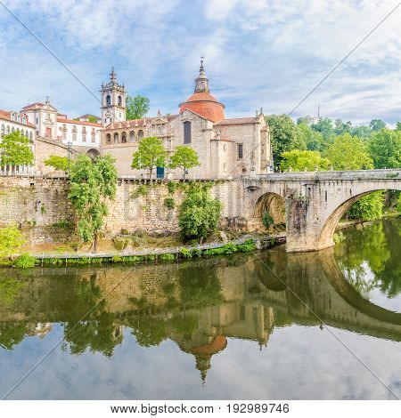 View at the church of Sao Domingos and monastery Sao Goncalo over Tamega river in Amarante - Portugal
