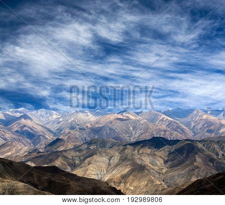 View from Shey La Pass - Himalayan mountain landscape in Upper Dolpo, Shey Phoksundo National Park, Nepal