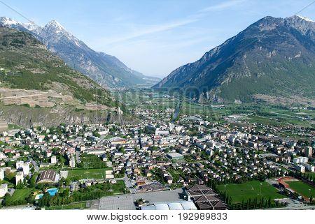 Marigny, Switzerland - 4 April 2013: The town of Martigny on the Swiss alps
