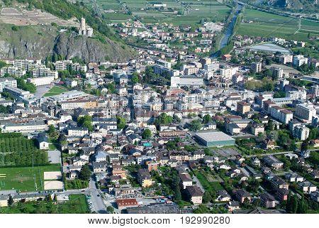 Marigny, switzerland - 24 April 2013. The town of Martigny on the Swiss alps