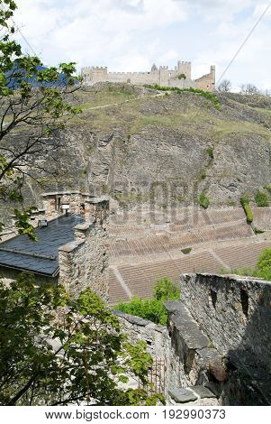 Sion, Switzerland - 4 August 2014: View of the walls of the castle Turbillon at Sion on Switzerland