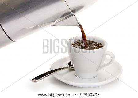 pouring coffee from coffeepot into white coffee cup on white background.