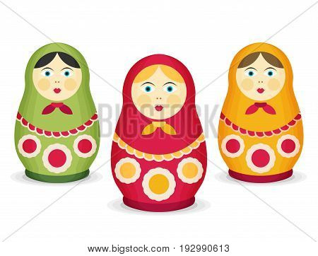 Russian Dolls Matrioshka. Flat style set colorful