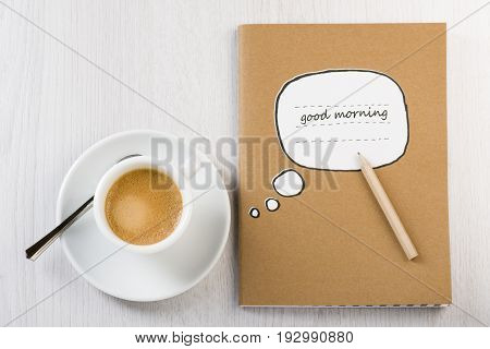 cup of coffee on white table with notes and pencil.