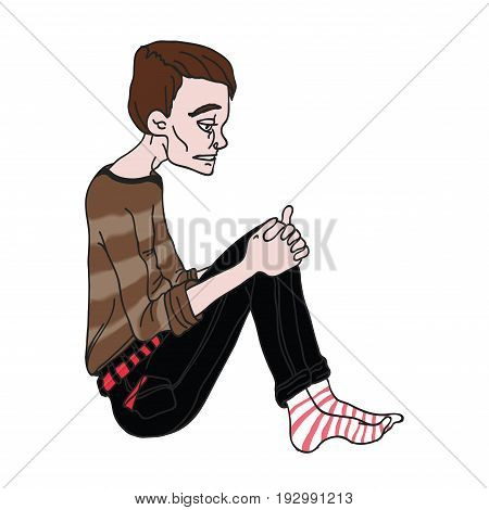 Depressed young man sitting. Vector illustration, isolated on white background.
