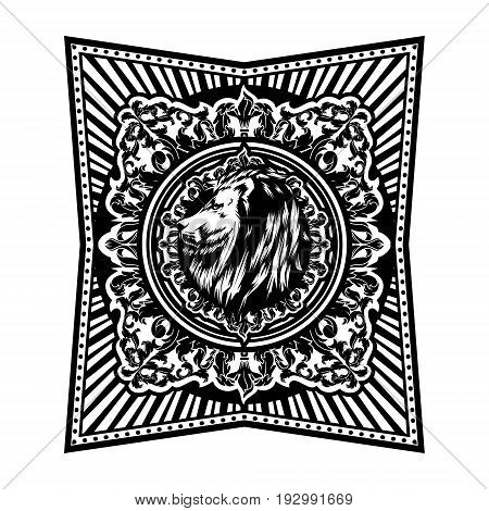 Luxury Ornate Decorative Pattern Floral Victorian Filigree Acanthus Frame Lion