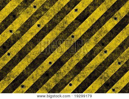 listras de perigo amarelo sujo velho na estrada preta cheia de bulletholes