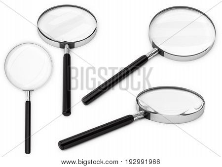 Magnifier or magnifying glasses. 3D illustration isolated on a white background.