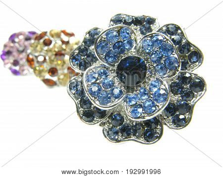 precious jewellery brooches isolated on white background