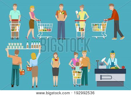 Buyers in supermarket set with men and women trolleys and backets on blue background isolated vector illustration