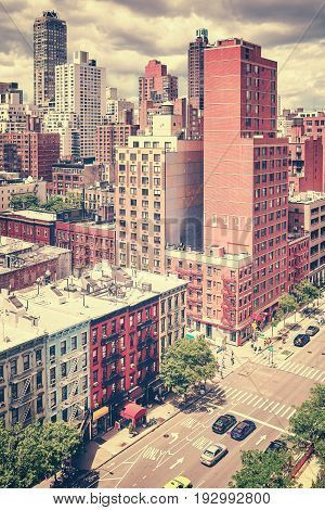 Vintage Stylized Picture Of First Avenue And City Skyline, New York.