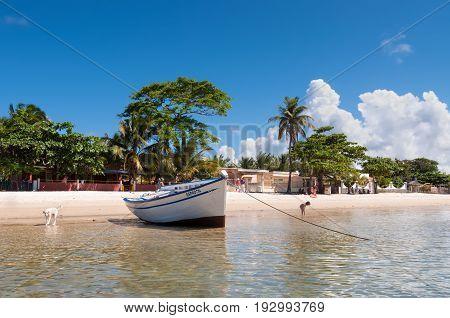 Ramena Madagascar - December 20 2015: Boat on the Ramena beach in the fishing village of Ramena Madagascar East African Islands Africa.