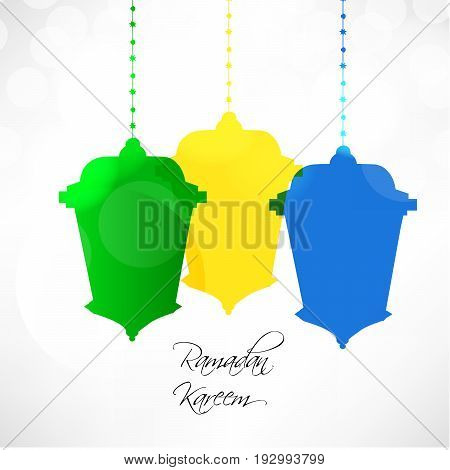 illustration of colorful Lamps with Ramadan Kareem text on the occasion of Muslim Festival Ramadan Kareem