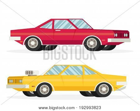 Muscle car. Flat styled vector illustration set