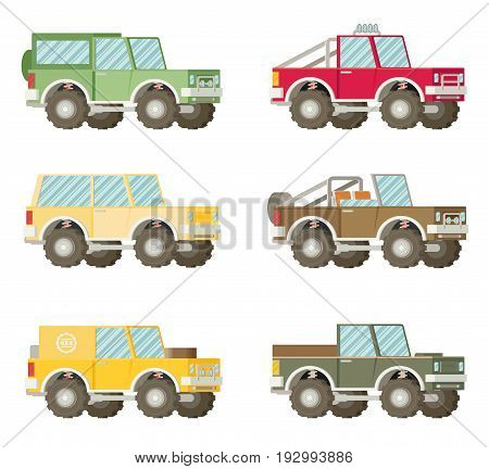 Off road car set isolated on white background. Flat vector illustration