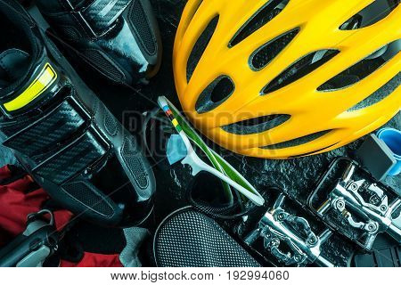 Bike and cycling sport accessories border and frame copy space