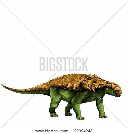dinosaur in full growth stegosaurus Armadillo with spikes on the back sketch vector graphics color picture