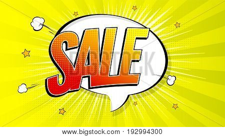 Sale pop art splash background, explosion in comics book style. Advertising signboard, price reduction, sale with halftone dots, cloud beams light on yellow backdrop. Vector for ad, covers, posters.