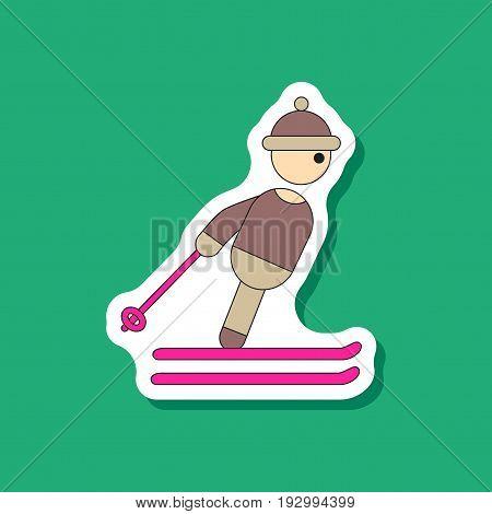 paper sticker on stylish background skier fashion