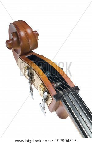 still life detail photo of a cello isolated on white background