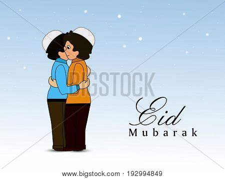 illustration of two men embrace each other with Eid Mubarak text on the occasion of Muslim festival Eid