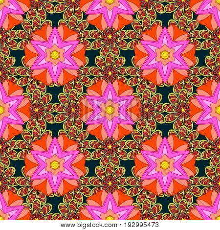 Boho style flower seamless pattern. Vector Mandala. Background. Tiled mandala design best for print fabric or papper and more.
