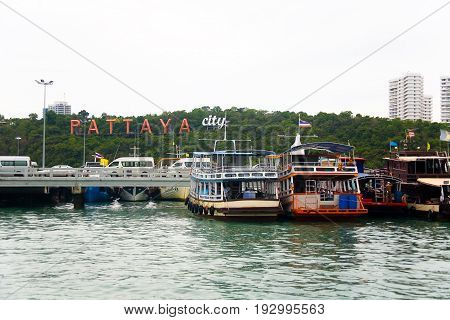 Pattaya Thailand May 16 2013: Pier with the inscription Pattaya.