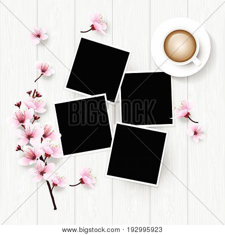 White wooden table from top view. White painted table top with cherry blossoms branch flowers coffee cup and photo frames. Vector illustration for relax time.