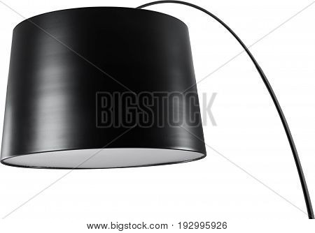 A Close Up Partial View of a Black Floor Lamp. Black part of lamp isolated on white