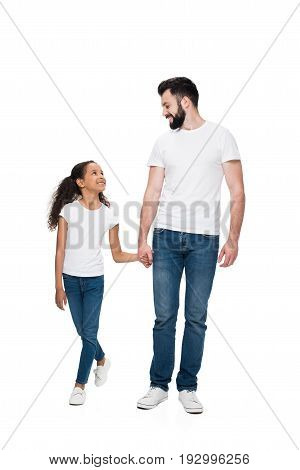 Happy Multiethnic Father And Daughter Holding Hands And Smiling Each Other Isolated On White