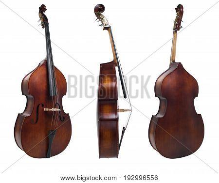 still life three cello isolated on a white backgorund