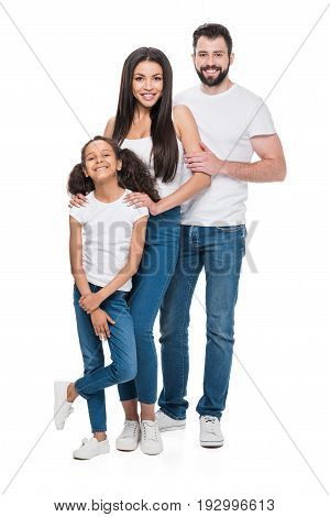 Young Multiethnic Family In Casual Clothing Looking At Camera Isolated On White