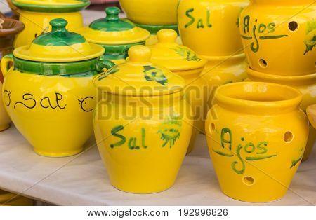 Colorful ceramic pots at the tourist market on the Plaza de la Reina in Valencia