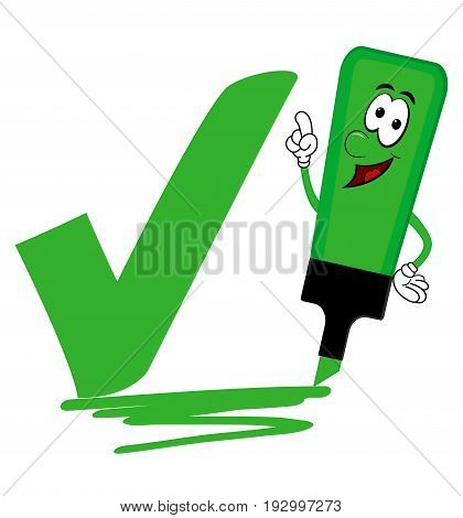 Single green cartoon highlighter pen with bold tick or check mark