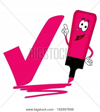 Single pink cartoon highlighter pen with bold tick or check mark