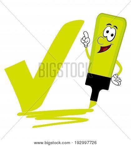 Single yellow cartoon highlighter pen with bold tick or check mark