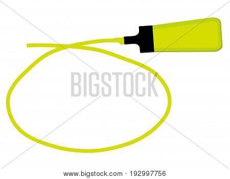 Single yellow highlighter pen with hand drawn yellow circle to highlight text.