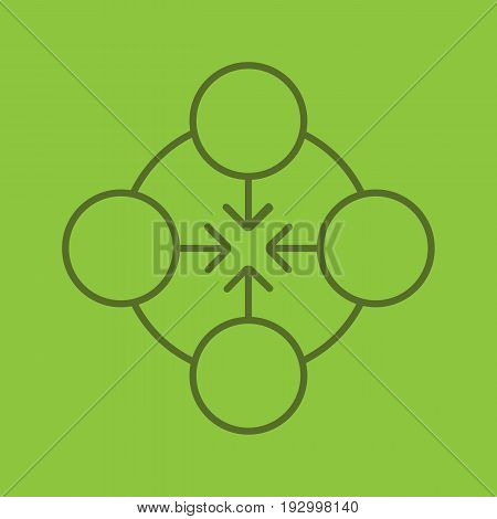 Concentration color linear icon. Abstract metaphor. Teamwork symbol. Thin line contour symbols on color background. Vector illustration