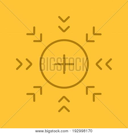 Attraction symbol color linear icon. Positively charged electron. Thin line outline symbols on color background. Vector illustration