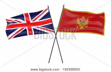 Great Britain and Montenegro, two crossed flags isolated on white background. 3d image